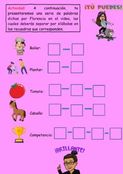 Interactive worksheet Silabas