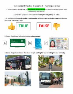 Ficha interactiva Independent Practice (Supported) - Getting on a Bus