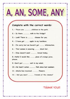 Interactive worksheet A- any- some- any
