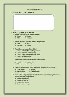 Interactive worksheet Sifat-sifat cahaya