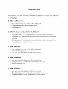 Interactive worksheet Landforms Quiz