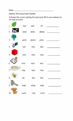 Interactive worksheet Spelling Test (Long Vowel Sounds)