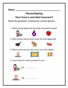 Interactive worksheet Initial consonant P and short vowel A