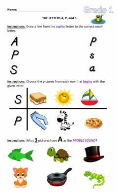 Interactive worksheet The Letters A, P, and S