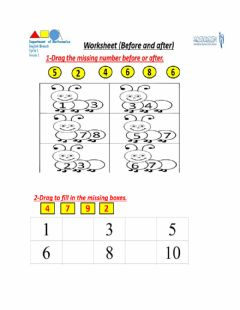 Interactive worksheet Math worksheet (Before and After)