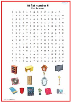 Interactive worksheet At flat number 6. Wordsearch & Crossword
