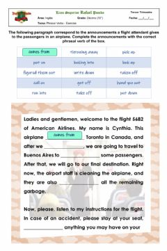 Interactive worksheet Phrasal Verbs - Flight Attendant