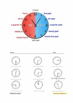 Interactive worksheet What time is it? learning to say the hours