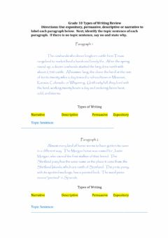 Ficha interactiva Grade 10 Types of Writing Review