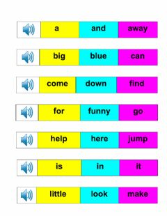 Ficha interactiva Listen and choose the correct pre-primer word