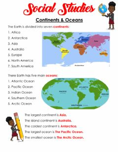Interactive worksheet Continents & Oceans Notes