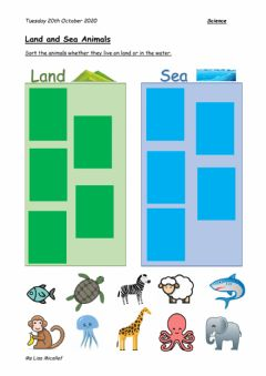 Interactive worksheet Land or Sea Animals