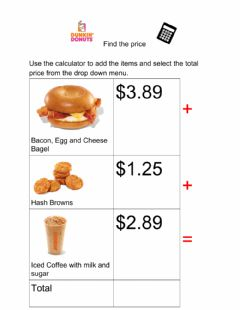 Interactive worksheet Find the Price Dunkin Donuts 3