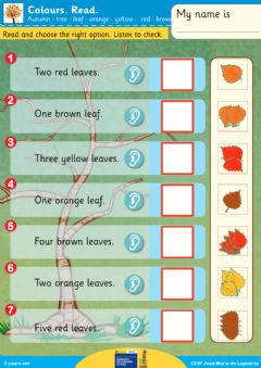 Interactive worksheet Autumn leaves colours