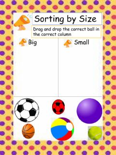 Interactive worksheet Sorting by size