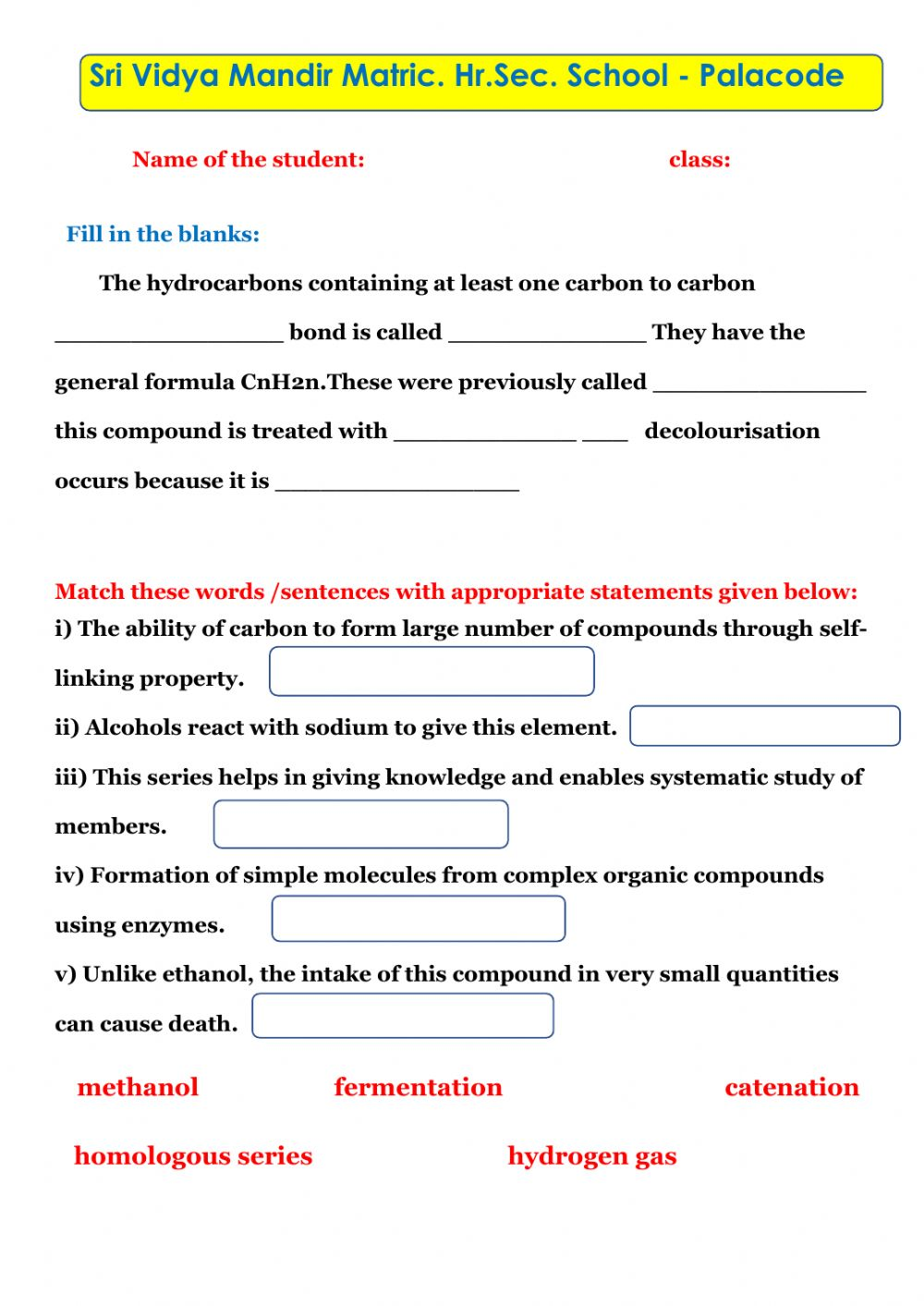 Carbon and its compounds worksheet