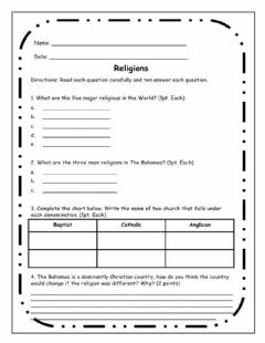 Interactive worksheet Religions in The Bahamas
