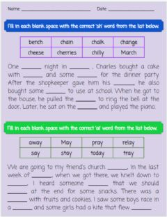 Ficha interactiva Spelling Review - 'ch' - 'ay'