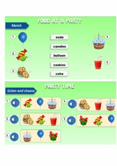 Ficha interactiva Food at a party- vocabulary