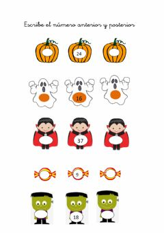 Interactive worksheet Anterior y posterior halloween