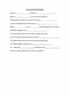 Interactive worksheet Ecosystem song