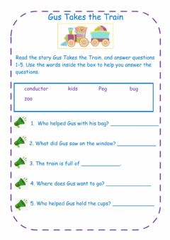 Interactive worksheet Gus Takes the Train Comprehension Questions