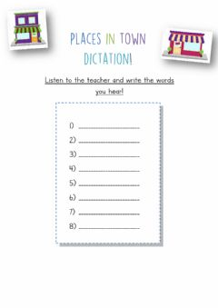 Interactive worksheet Places in town dictation