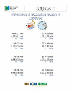Interactive worksheet Sumar y restar horas y minutos 00