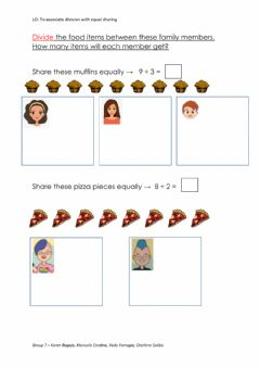 Interactive worksheet Division by sharing