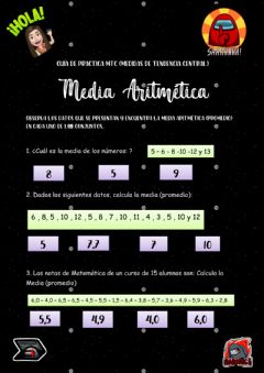 Interactive worksheet Guía MTC Media Aritmética