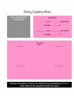 Interactive worksheet Solving Equations Notes
