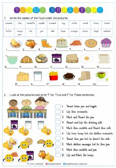 Interactive worksheet 6.2. Yummy Breakfast