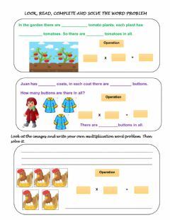 Interactive worksheet Multiplication word problems