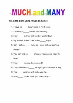 Interactive worksheet Many - Much