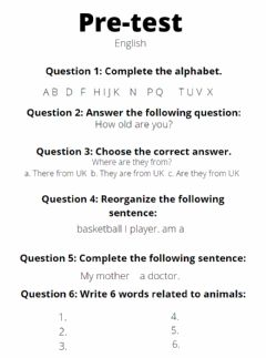 Interactive worksheet Pre-test for english learners