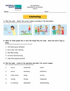 Interactive worksheet Listening and reading follow-up