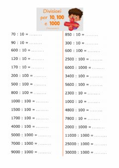 Interactive worksheet Divisioni 10 100 1000