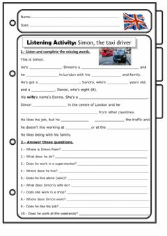 Interactive worksheet Simon, the taxi driver