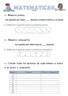 Interactive worksheet Primos y compuestos