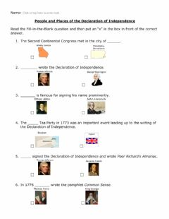 Interactive worksheet Declaration of Independence People and Places w visuals