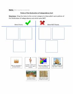 Interactive worksheet Points of the Declaration of Independence