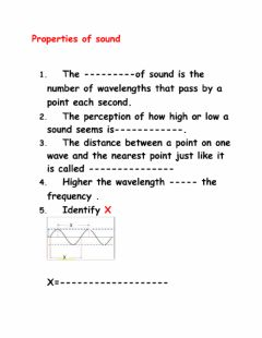 Interactive worksheet Properties of sound waves
