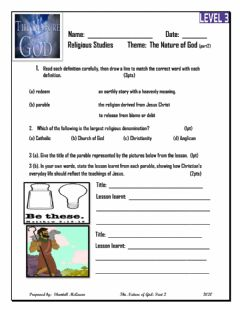 Interactive worksheet The Nature of God