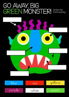 Interactive worksheet Go away big green monster - Drag and drop colours