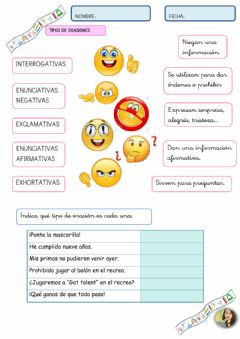 Interactive worksheet Tipos de oraciones