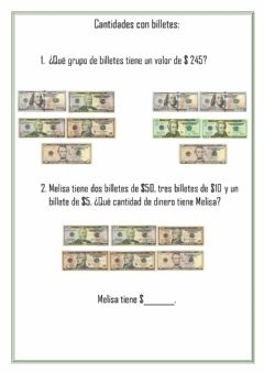 Interactive worksheet Billetes de dólares.