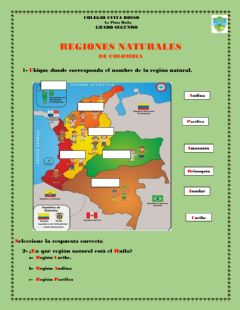 Interactive worksheet Regiones naturales de Colombia