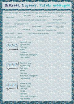Interactive worksheet Distress, Urgency, Safety Messages