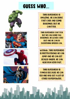 Interactive worksheet Superheros