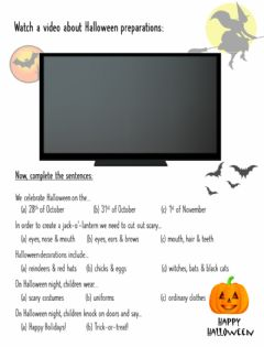 Interactive worksheet Getting Ready for Halloween (video)